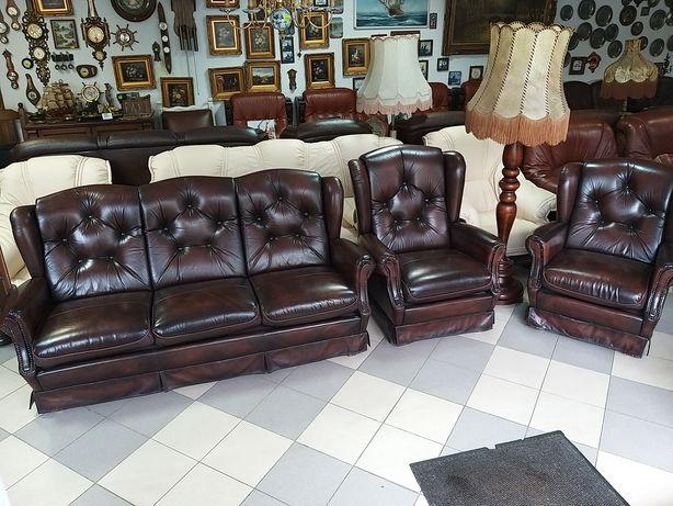 Комплект английский честерфилд диван и два кресла натуральная кожа