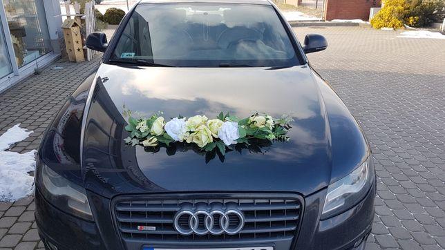 Dekoracja na samochód z kwiatów biało- zielona  przesyłka gratis