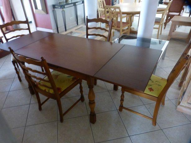 Stół z litego drewna rozsuwany 225 cm x 85 cm z 4 krzesłami