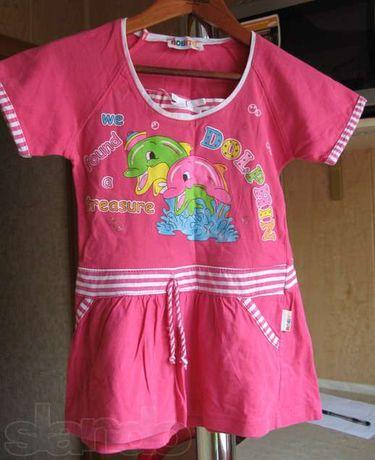 Платье Дельфин летнее розовое трикотажное на 3-4 года