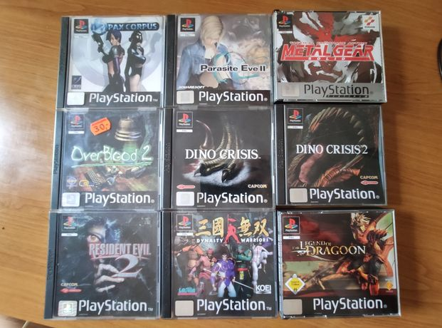 Gry PsX/Ps1 (Metal Gear Solid, Dino Crisis 1/2, The Legend od Dragon.)