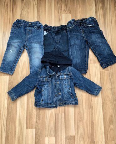 Джинсы и куртка джинсовая. Одним пакетом. 9-12 месяцев