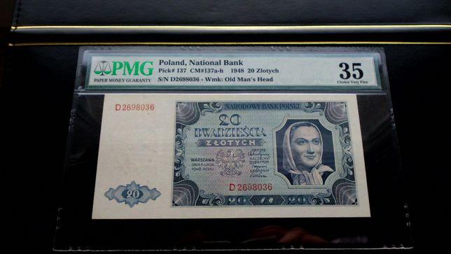 Banknot - 20 zł 1948 - Seria D - PMG 35 - Anielka