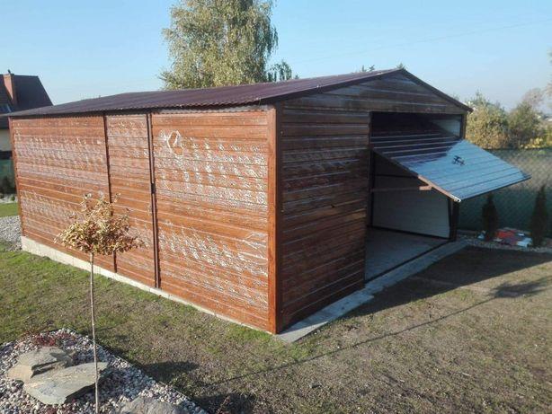 garaże blaszane, garaż 5x6 dach dwusadowy, jasny orzech drewnopodobny,
