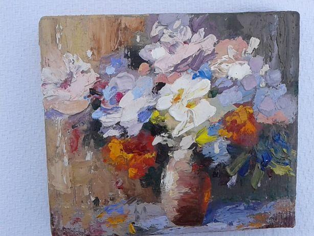 Картина миниатюра маслом, цветы абстрактные