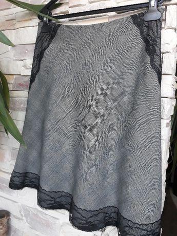 Серая юбка шерстяная миди клетка с кружевом