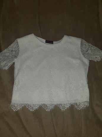 Белый кружевной топик,блузка