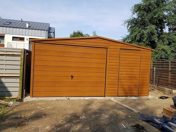 5x6 Garaż blaszany złoty dąb blaszaki Garaże drewnopodobne Profil