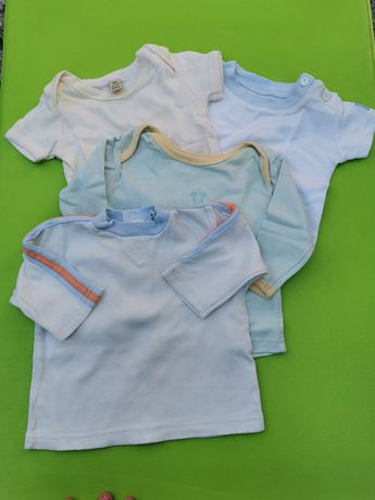 Komplet spodnie, bluzki, koszulki, rampers r. 62