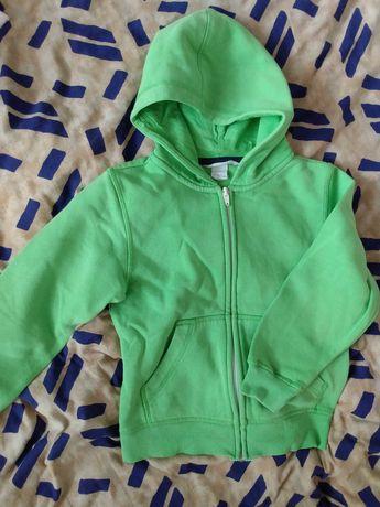 Sweter na zamek, bluza chłopięca zielona 110/116 4-6lat