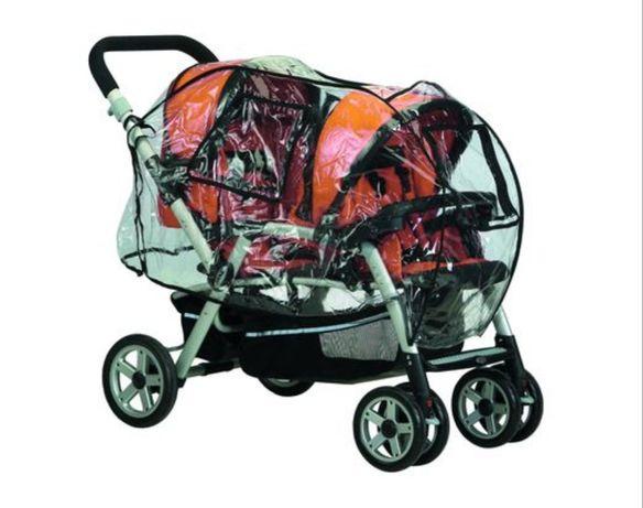 Folia przeciwdeszczowa wózek Jane Twin Two, adaptery
