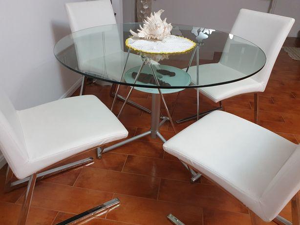 Mesa em vidro temperado 110cm.