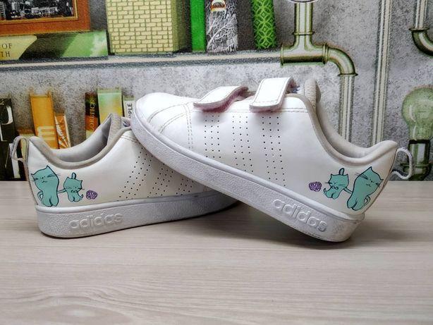 Белые Кожаные кроссовки Adidas 26 р. нарядные кросы на липучках осень