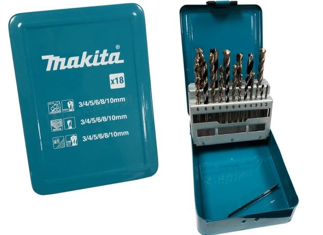 Makita...zestaw 18 porządnych wierteł...drewno,metal,beton.