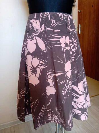 Brązowa w kwiaty spódnica bawełna firmy GEORGE 38