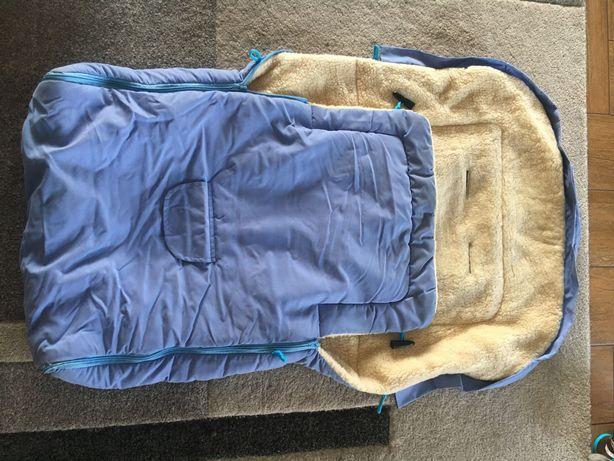 Śpiworek do wózka niebieski/ wełna