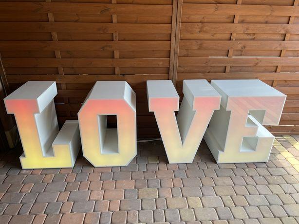 Wynajem napis LOVE LED Candy Bar Efekty Kolory 150 zł weekend