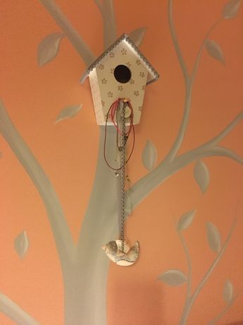 Conjunto Decoração quarto menina: candeeiro, casinha e passarinhos