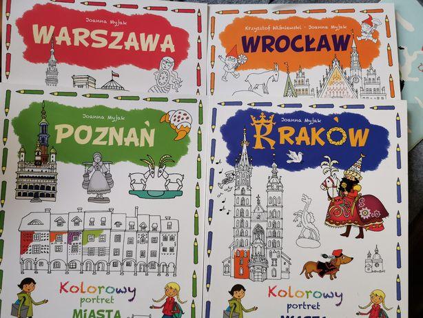 Kolorowy portret miasta! 4 sztuki! Nowe! Warszawa Poznań Kraków