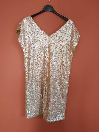 Sukienka cekinowa, jasny łososiowy Promod 38