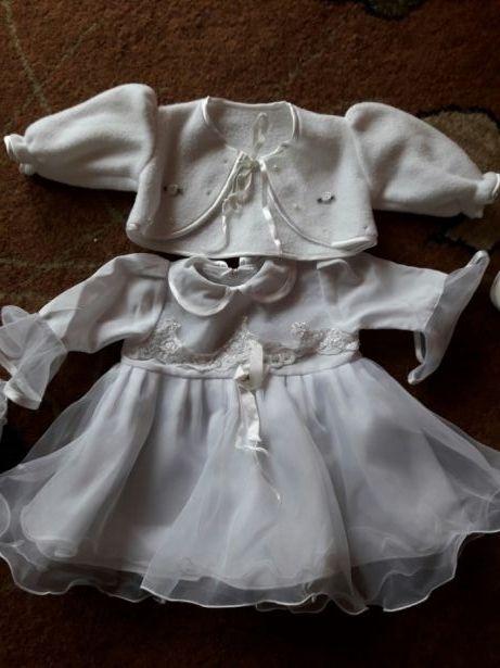 ubranko do chrztu dla dziewczynki cały komplet ładne