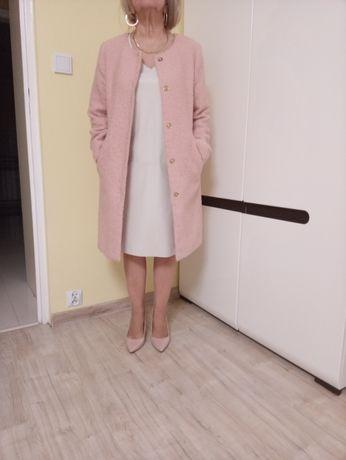 Płaszcz damski koloru pudrowego różu -wiosna , jesień