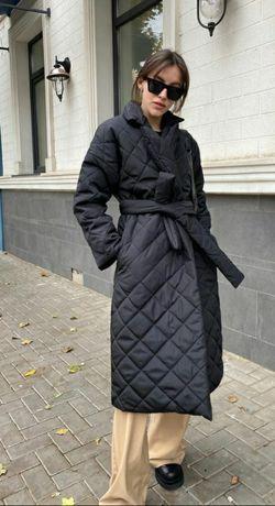 Пальто стеганое на запах весна