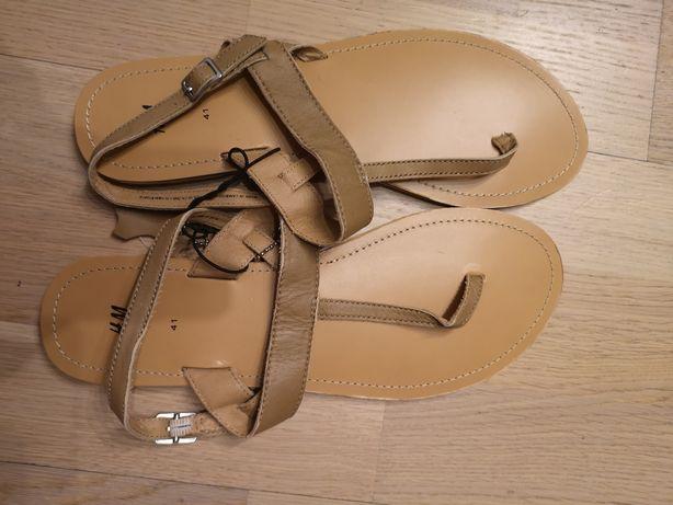 Skórzane sandały h&m NOWE