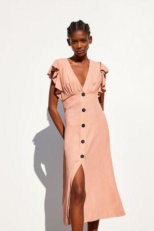Платье сукня из натуральной ткани лён лиоцелл zara xs-s