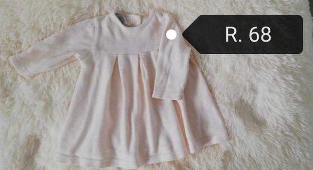 Ciepła kremowa sukienka dla dziewczynki w r 0-4 miesiące.