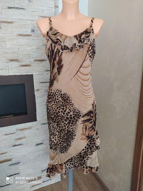 Sukienka panterka etno afryka falbany letnia midi r.M/L
