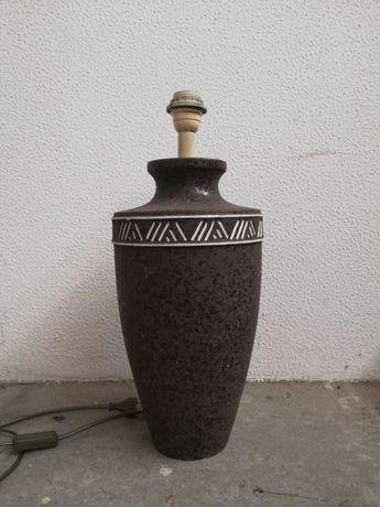 Candeeiro Antigo de Mesa em Ceramica Cinzento