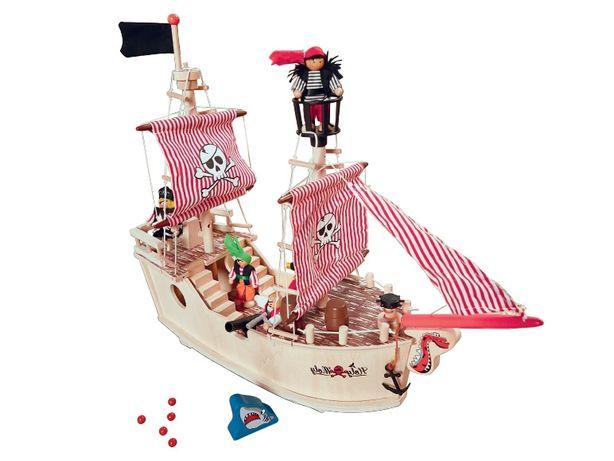 Barco Pirata de madeira e Pista Esferas de madeira