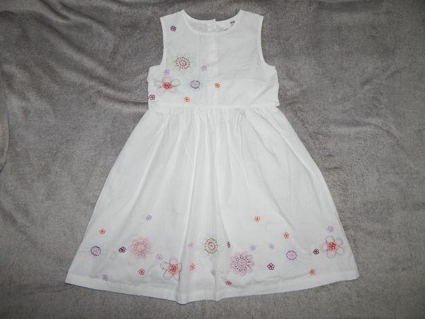 Легкий белый хлопчатый сарафан H&M на девочку 7-8 лет.Рост 122-128 см.