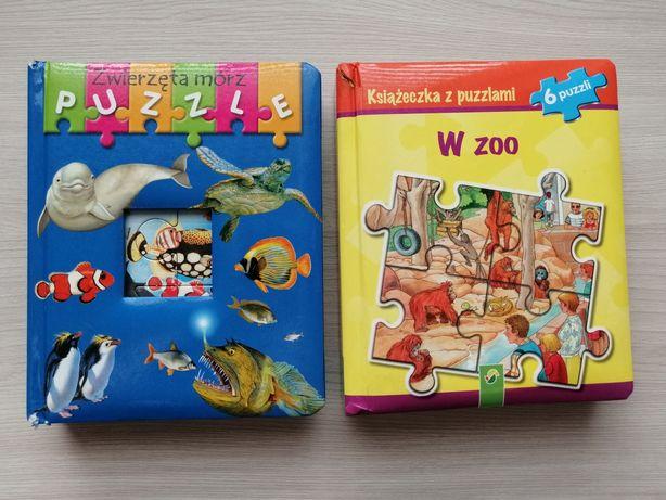Dwie książeczki z puzzlami W zoo i Zwierzęta mórz