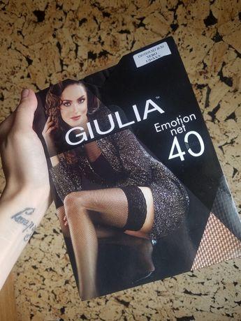 Чулки новые чёрные в сеточку 40 20 den giulia панчохи