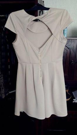 Sukienka dekolt na plecach 36 rozkloszowana krem wyprzedaż