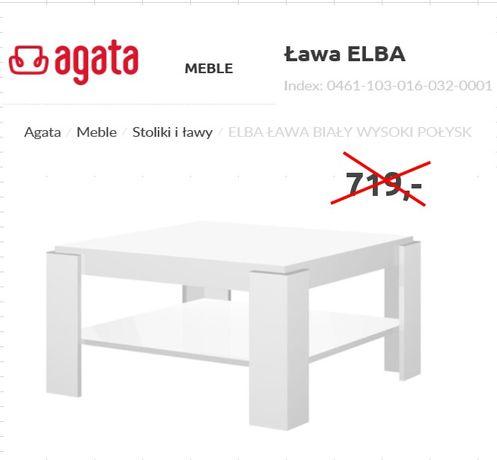 Ława ELBA, stolik biały wysoki połysk
