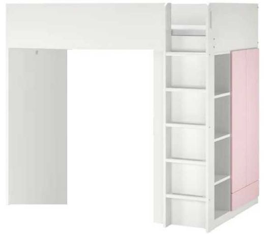 Cama beliche criança branca e rosa IKEA com roupeiro e prateleiras.