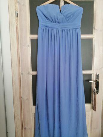Suknia sukienka na bal wesele błękitna niebieska dluga 42-44
