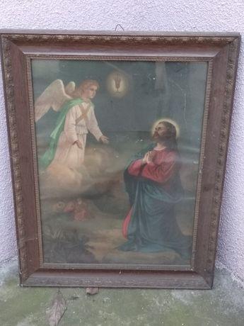 Stary przedwojenny obraz święty anioł stróż