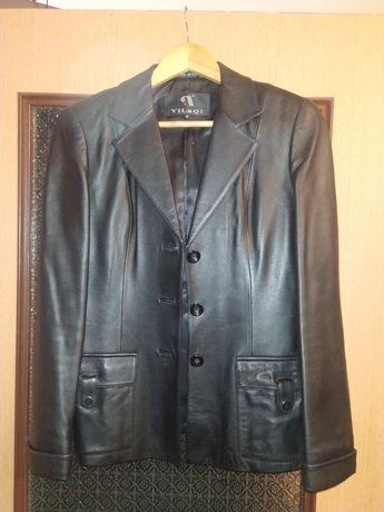 Пиджак женский черный кожаный YiLuQi