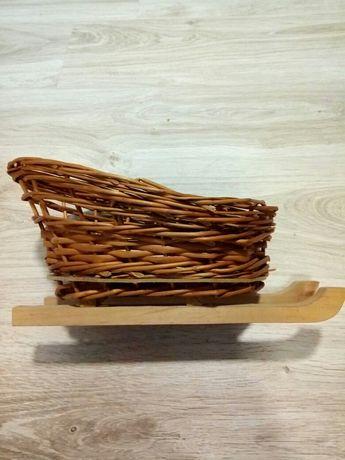 Декоративна корзинка Санки, новорічний декор, новогодняя