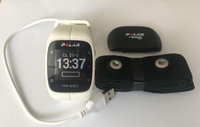 Zegarek sportowy Polar M400 z nadajnikiem biały