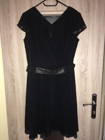 czarna sukienka szyfonowa rozm 44 z paskiem