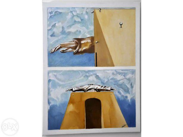 Sigam-me (Cristo Rei) - Quadro 80x60 tecnica mista.