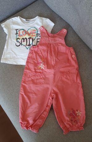 Zestaw ubranek rozm. 86 – koszulka i spodnie ogrodniczki bawelna/len