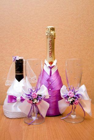 Свадебный декор бутылок, бокалов