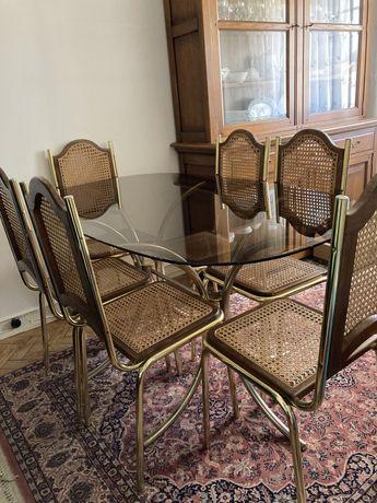 Mesa de vidro com 6 cadeiras metal e palhinha