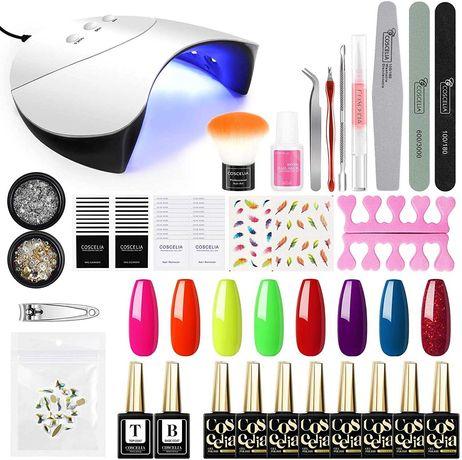 Kit catalisador Gel 8 Cores 3 Modos 36W UV LED Base Manicure Pedicure